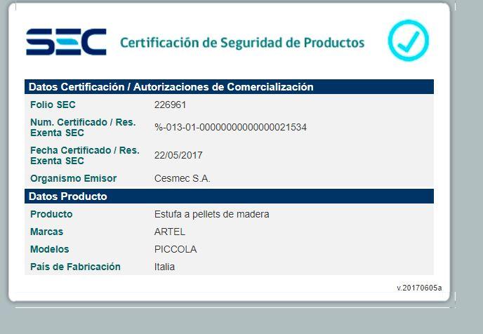 certificado sello sec piccola